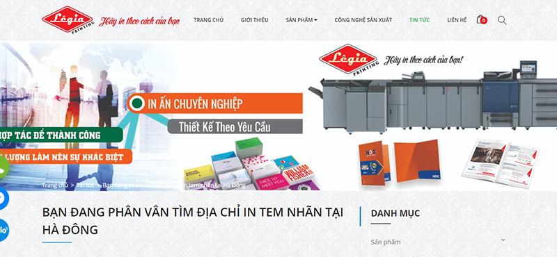 Website công ty TNHH In Nhanh Lê Gia