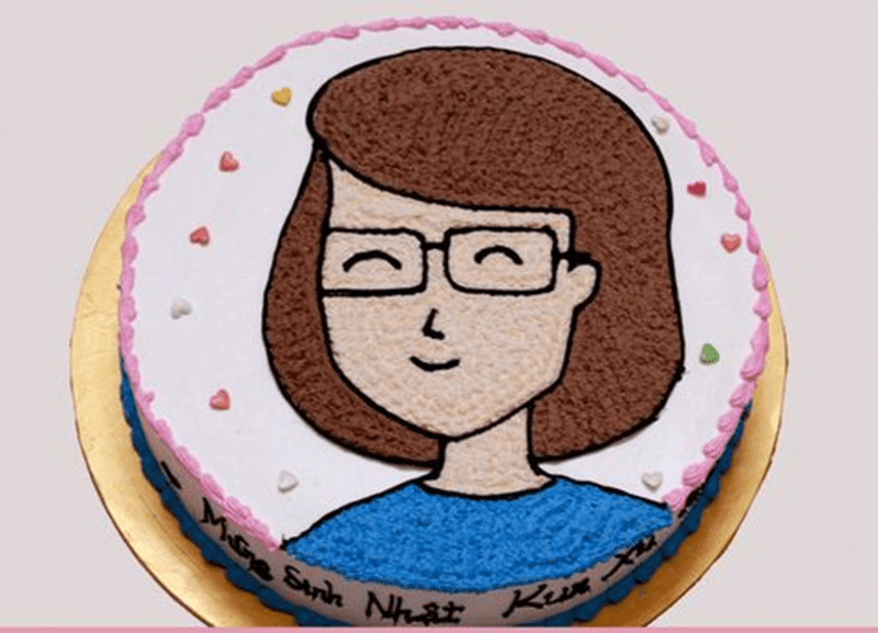 Bánh sinh nhật có vẽ hình cô giáo